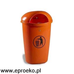 Kosz uliczny, parkowy DINOVA 50 litrów pomarańczowy